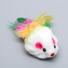 Игрушка для кошек 'Малая мышь' с перьями, микс цветов Ош