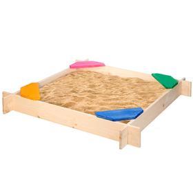 Песочница деревянная «Ирида», 120×120×14 см, 4 сидения, пропитка, цвет радуга Ош