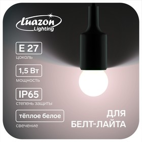 Лампа светодиодная декоративная, G45, Е27, 1.5 Вт, для белт-лайта, свет тёплый белый