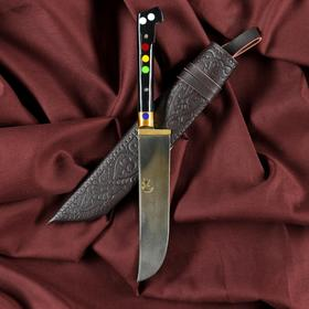 Нож Пчак Шархон - Чирчик, оргстекло, ёрма, гарда латунь, клинок с гравировкой. ШХ-15 (10-12