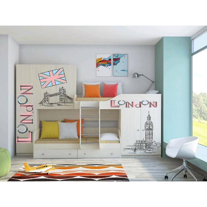 Детский комплекс «Лео», цвет дуб молочный, фотопечать «Лондон»