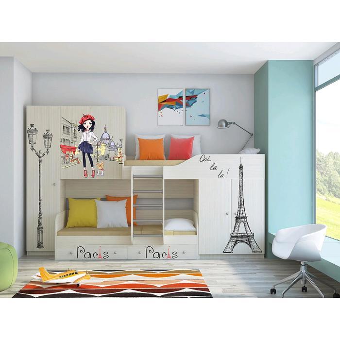 Детский комплекс «Лео», цвет дуб молочный, фотопечать «Париж»