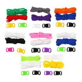 Набор плетения из тесьмы + 4 крепления, длина 1 шт 1,2 метра, цвета однотонный МИКС