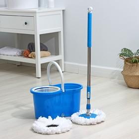 Набор для уборки: швабра, ведро с пластиковой центрифугой 14 л, запасная насадка из микрофибры, колёсики, цвет МИКС