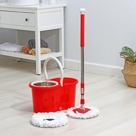 Набор для уборки: швабра, ведро с металлической центрифугой 14 л, запасная насадка из микрофибры, колёсики, цвет МИКС Ош