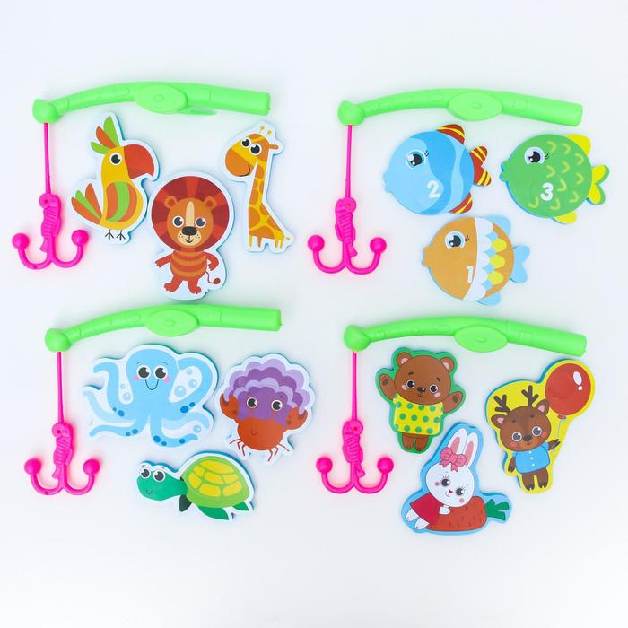 Набор игрушек для ванны удочка Веселая рыбалка, МИКС