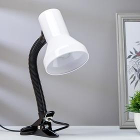 Лампа настольная на прищепке 1х60Вт Е27 шнур 1,3м белый