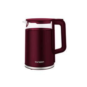 Чайник электрический Oursson EK1732W/DC, пластик, колба стекло, 1.7 л, 2200 Вт, бордовый