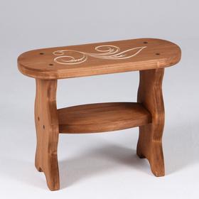 Скамейка 'Фигурная' лакированная, с резным сиденьем, 42×17×30см Ош