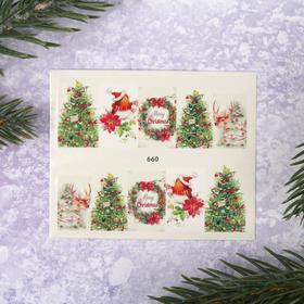 Слайдер-дизайн для ногтей «Рождественская ель», водный Ош