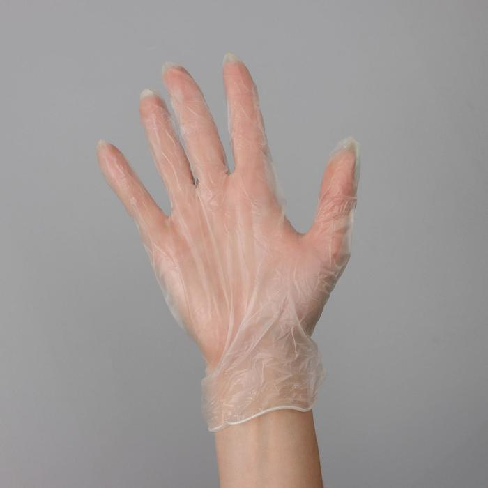 Перчатки хозяйственные виниловые, размер L, 100 штуп, цена за 1 шт