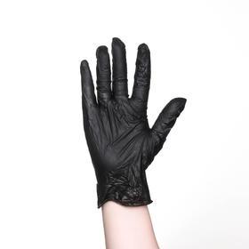 Перчатки хозяйственные виниловые, размер L, 100 шт/уп, цена за 1 шт, цвет чёрный Ош