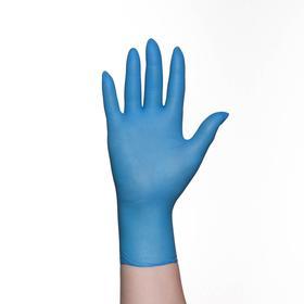 Перчатки хозяйственные нитриловые, размер S, 100 шт/уп, цена за 1 шт, цвет голубой Ош