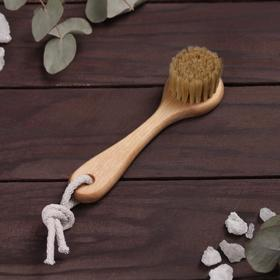 Щётка для лица, деревянная, натуральная щетина, с верёвкой Ош