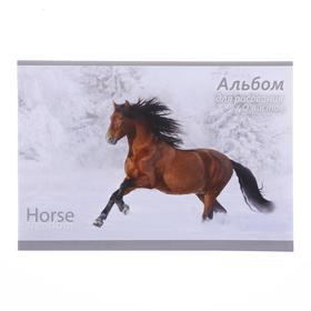 Альбом для рисования А4, 40 листов на скрепке Horse freedom, обложка мелованный картон, ВД-лак, блок офсет 100 г/м2