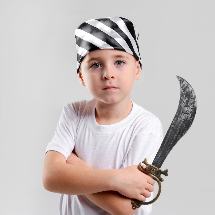 Набор пирата сабля, бандана в чёрно-белую полоску с черепом, р. 50 50 см