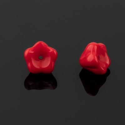 """Бусина стеклянная """"Preciosa"""" цветок (набор 2шт), 8*7мм, цвет красный"""