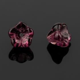 """Бусина стеклянная """"Preciosa"""" цветок (набор 2шт), 8*7мм, цвет аметистовый"""
