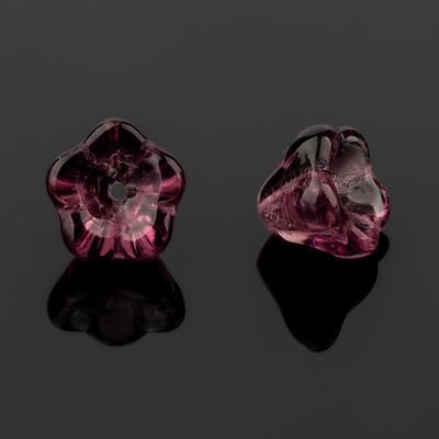 """Бусина стеклянная """"Preciosa"""" цветок (набор 2шт), 8*7мм, цвет аметистовый - Фото 1"""