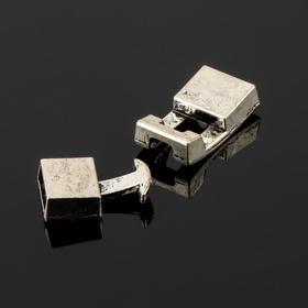 Замок-концевик 'Прямоугольник', 32*12мм (внутр. 10*3мм), крючок с ответной частью, цвет чернёное серебро Ош
