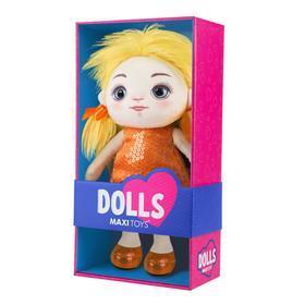 Мягкая игрушка «Кукла Милена» в оранжевом платье, 35 см
