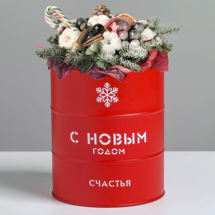 Банка-бочка, красная «С новым годом», 12 х 14 см