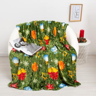 Плед Павлина Новогодняя сказка цв зеленый 150х200см, аэрософт 190г/м, пэ100%