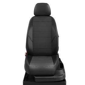 Авточехлы для Nissan Murano 3 с 2015-н.в. джип Задние.спинка и сиденье 40/60, задний подлокотник (молния), 5 подголовников (передние Активные). Середина: жаккард квадрат. Боковины и спинка: чёрная экокожа.