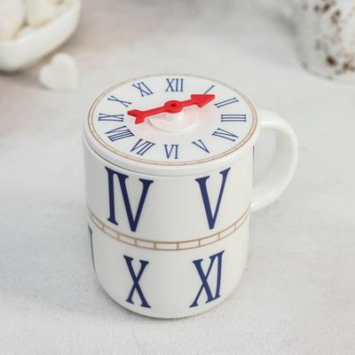 Кружка «Часы», 440 мл, с керамической крышкой, цвет МИКС - Фото 1