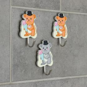 Набор крючков на липучке «Мышки, котики», 3 шт, рисунок МИКС Ош