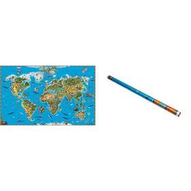 """Карта Мира """"Обитатели Земли"""" 116 х 79 см"""