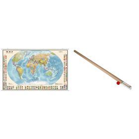 Карта Мир Политическая с флагами 1:30М ламинированная на рейках в картонном тубусе ОСН122412