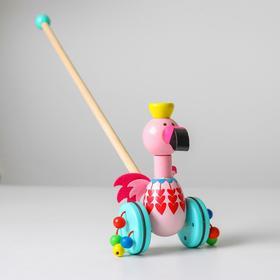 Детская каталка на палочке «Животные с бусинками на колёсах» 17х9х50 см, МИКС