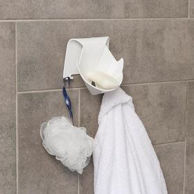 Держатель для ванных принадлежностей на липучке «Кит», 12×9,5× 13 см, цвет МИКС