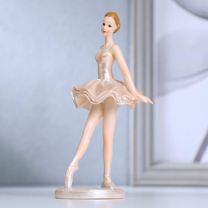 Сувенир полистоун Миниатюрная балерина в перламутро-розовой пачке 14х6х7 см