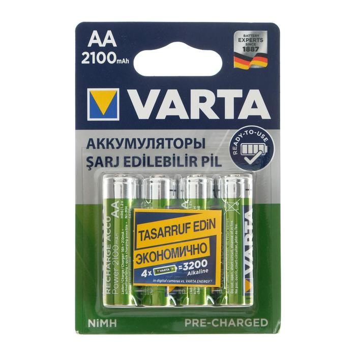 Аккумулятор Varta, Ni-Mh, AA, HR6-4BL, 1.2В, 2100 мАч, блистер, 4 шт.