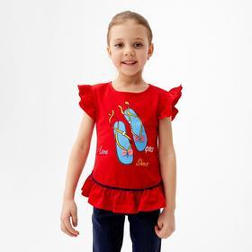 Футболка для девочки, цвет красный, рост 98 см (3 года)