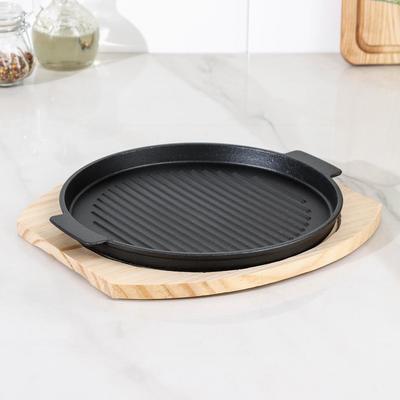 Сковорода «Круг. Гриль», 25×21,3 см, с ручками, на деревянной подставке, МИКС