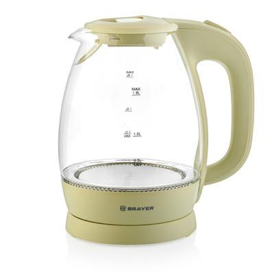 Чайник электрический BRAYER BR1045YE, стекло, 1.8 л, 2200 Вт, автоотключение, бежевый - Фото 1