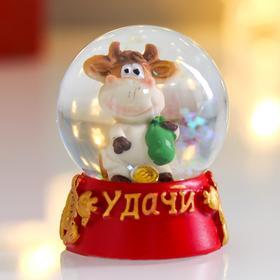 Сувенир полистоун водяной шар 'Бычок Рома с монеткой' d=4,5 см 6х4,5х4,5 см Ош