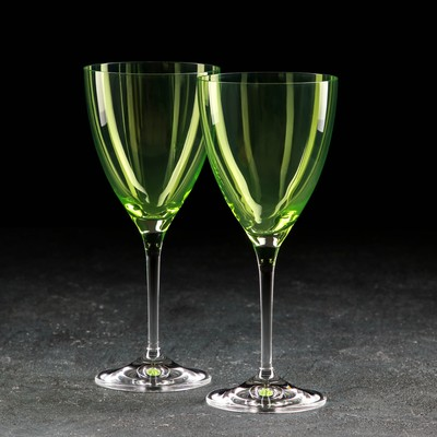 Набор бокалов для вина «Кейт», 250 мл, 2 шт, цвет зелёный - Фото 1