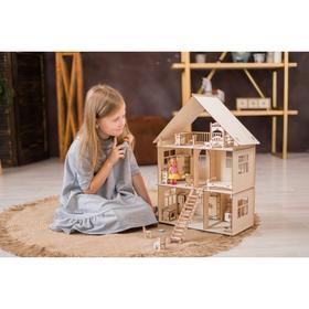 Конструктор-кукольный домик «Коттедж с мебелью» из дерева