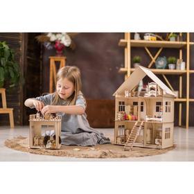 Конструктор-кукольный домик «Коттедж с пристройкой и мебелью» из дерева