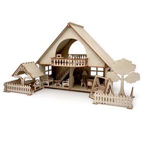 Конструктор-кукольный домик «Летний дом с беседкой и качелями» из дерева