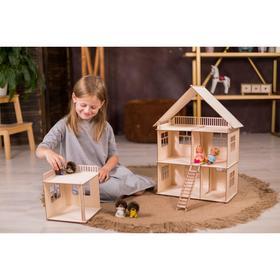 Конструктор-кукольный домик «Коттедж с пристройкой» из дерева