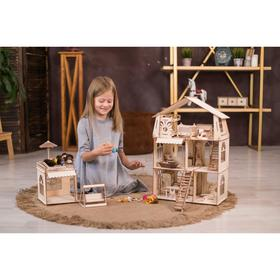 Конструктор-кукольный домик «Коттедж с пристройкой и мебелью Premium»
