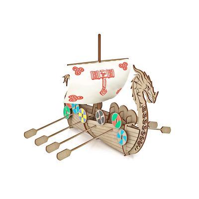 Конструктор из дерева Корабль Викингов «Драккар» - Фото 1