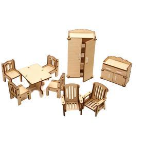 Мебель для кукольного домика «Зал» из дерева