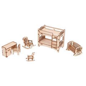 Мебель для кукольного домика «Детская» из дерева