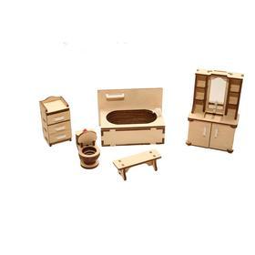 Мебель для кукольного домика «Ванная» из дерева